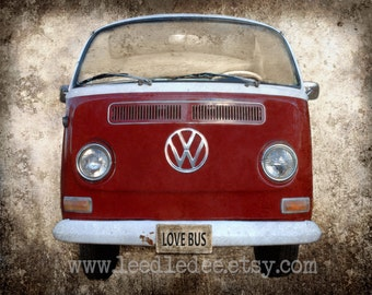 Red VW Bus (or CHOOSE your color) - Retro Hippie Volkswagen Bus Nostalgic 1960s 1970s
