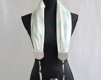 scarf camera strap mint floral - BCSCS063