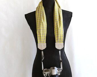 scarf camera strap neon windowpane - BCSCS031