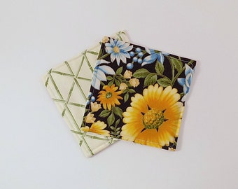 Blue and Gold Flowers Fabric Coaster Pair Mug Mats Set of Fabric Drink Coasters Floral Bamboo Fabric Coasters
