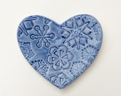 Snowflake Heart shaped tealight dish, Ceramic candle holder, alter dish, nature pottery bowl, Winter snow bowl.