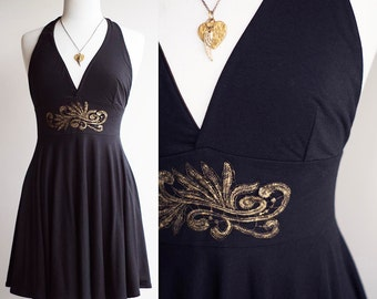 Soft Black Bamboo Halter Dress with Hand-Painted Gold Lace Appliqué
