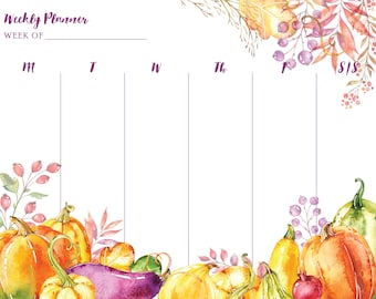 Weekly Planner - Fall/Autumn/Pumpkins/Harvest/Foliage/ - Calendar/Schedule/Itinerary/Printable Calendar/Printable Planner
