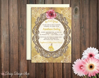 Bridal Shower Invitation - Princess Belle - Beauty and the Beast Damask and Frame