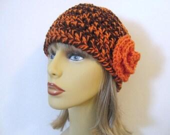 Orange and Dark Brown Crochet Beanie Hat - Womens Flower Hat