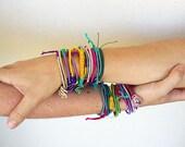 Boho friendship bracelet, silk fabric bracelet,personalised bracelet, wish bracelet, simple bracelet, layered bracelet