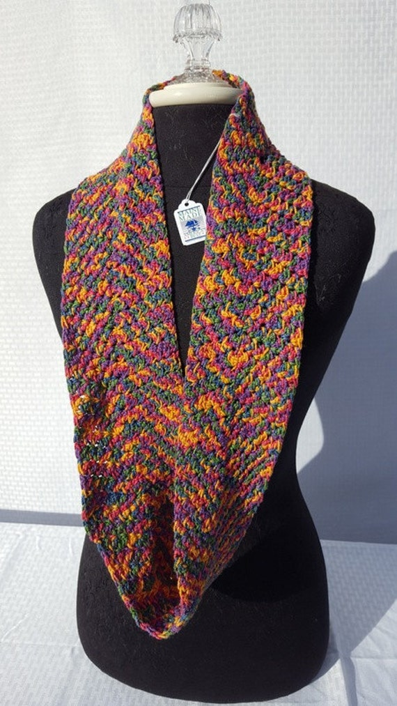 Confetti red-blue-green-yellow-purple infinity crocheted scarf-READY TO SHIP
