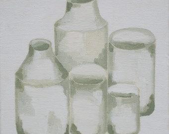 Still life with five ceramic pots, original oil painting