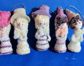 Spun Cotton Head - Mica Flakes - Cardboard - Chenille - Vintage Sparkly Girl Christmas Ornament - Lot of 5