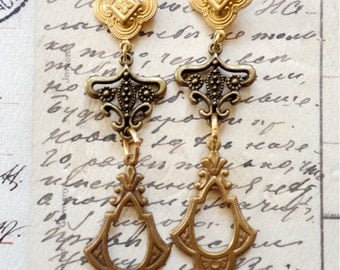 Mixed metal ornate earrings, raw brass, bronze, ornate stamping earrings, long length, Bohemian Princess
