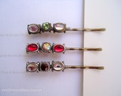 Beaded hair clips - Minimalist vintage inspired gem slider beads red green and clear crystals embellish jewel hair accessories TREASURY ITEM