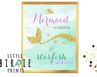 MERMAID PARTY SIGN Mermaid Kisses Starfish Wishes Mermaid party printables Gold and Purple Mermaid Wall Art - Welcome Sign  Instant download