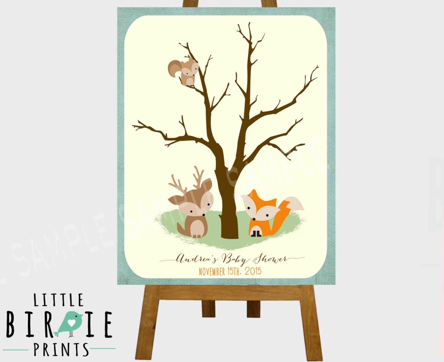 woodland baby shower game fingerprint tree by littlebirdieprints