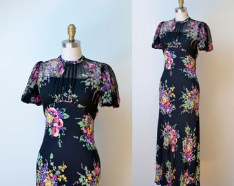 1930s Floral Dress / 30s Bias Cut Black Rayon & Chiffon