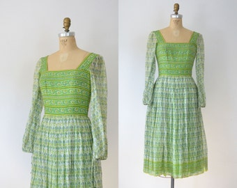 1960s Indian Cotton Dress / 60s Block Print Gauze Dress