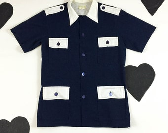60's 70's Men's sailor captain shirt 1970's button up navy white collared Manly vacation shirt Small Medium Gilligan's Island Yacht Shirt M