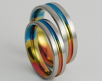 Titanium Rings , Wedding Bands , Titanium Wedding Band Set , Promise Rings , Dionysus Bands with Comfort Fit Interiors