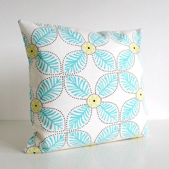 18 Inch Pillow Cover, Pillow Sham, Pillowcase, 18x18 Cushion Cover - Windmill Aqua