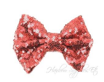 Rose Large Sequin Bows 4 inch Bows - Bow Applique, Sequin Bow, Large Bows, Big Bows, Wholesale Bows, Sequin Bow Tie, Sequin Bow Headband