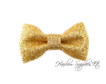 Gold Glitter Bow 3 inch - Gold Bow Tie, Gold Bow Baby, Gold Baby Headband Supplies, Gold Bow, Gold Hair Bow, Gold Hairbow