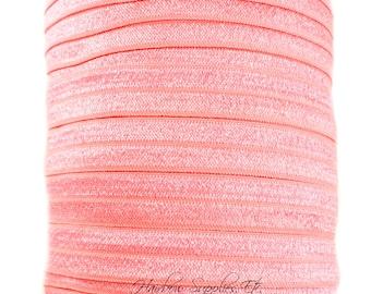 Coral Fold Over Elastic - Choose 1, 5, or 10 yards 5/8 inch FOE - Hair Ties Headbands Hairbow Supplies, Etc.