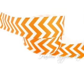 Orange Chevron Ribbon 1-1/2 inch NEW Grosgrain Ribbon - Hairbow Supplies, Etc.
