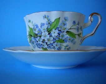Vintage Tea Cup & Saucer - Bone China Hand Royal London Forget Me Not Floral MINT Condition