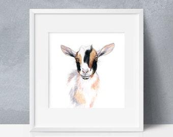 Nigerian Dwarf Goat, Printable Wall Art, Goat Drawing, Goat Portrait, Animal Poster Print, Digital Print, 8x8, 12x12, 16x16