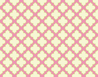 Heather Bailey - Up Parasol - Trellis in Pink pink green cream quatrefoil - cotton quilting fabric - choose your cut