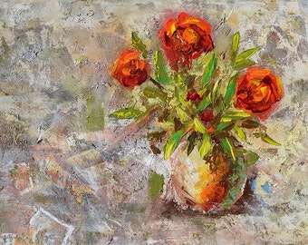 ORIGINAL Oil Painting flower painting texture impasto Modern  roses vase colorful painting home decor handmade painting gift ART MARCHELLA