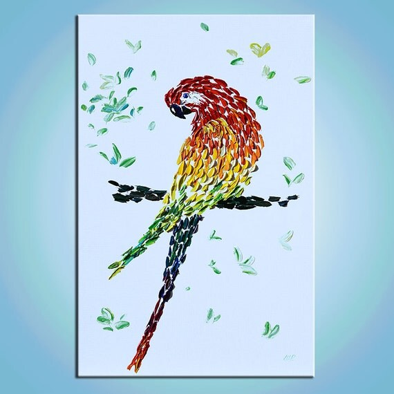 ORIGINAL Painting pointillism Modern contemporary art painting texture canvas home decor palette knife marchella abstract impasto 3d parrot