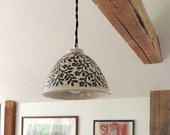 Hanging Porcelain Lamp in Dark Grey and White Hand Carved with Birds and Flowers and Black Cloth Covered Cord