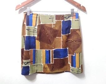 90s Abstract Cubist Woodgrain Print Mini Skirt size Medium