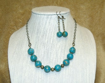 Turquoise Mosaic Bead Necklace and Earrings - turquoise stone bronze beaded jewelry set