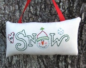Smiling Snowman Ornament, Winter SNOW Decor, Primitive Embroidered Stitchery, Red Green, Happy Snowman, snowman collector, Heart, XO, HAFAIR