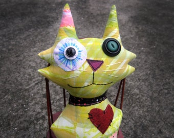 SALE Happy Cat Art Doll, Original Design, Textile Mixed Media Doll, hand printed fabrics, Unique Kitty, Cat Lover gift, purr, striped, plush