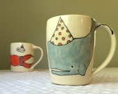 Coffee Mug - Party Whale Coffee Mug - Handmade Coffee Cup - Large Mug - Cute Mug - whale and Submarine Mug - Handmade Pottery Mug