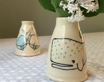 whale bud vase - polka dot whale