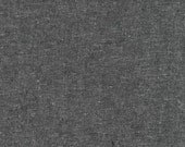 Linen Essex Yarn Dyed, Quilting fabric, Apparel Fabric, Linen fabric, Cotton fabric, Gray Fabric, Robert Kaufman, Essex in Charcoal