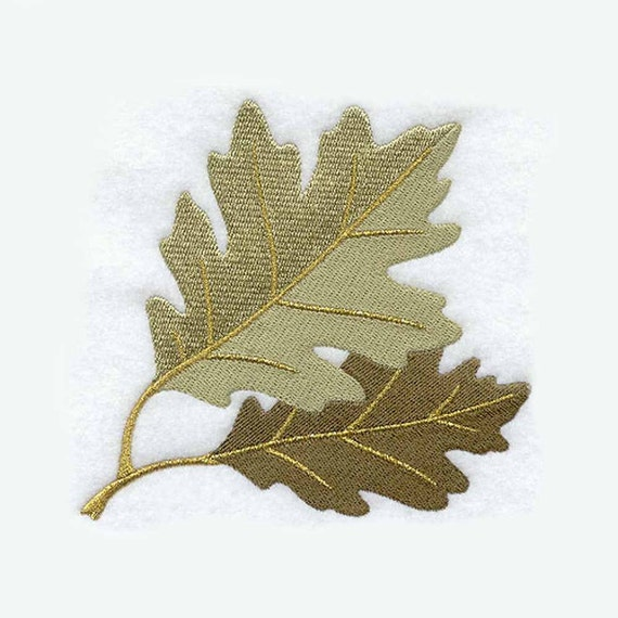 Oak leaf time tea towel embroidered kitchen