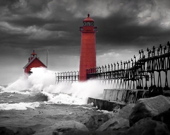 Grand Haven Lighthouse in a Rain Storm with High Wind at the Pier Head on Lake Michigan in Michigan No.22216 A Fine Art Seascape Photograph