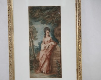 Antique Hand Colored Mezzotint Print Young Girl Gown Garden Scene Framed Gold
