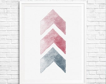 Watercolor chevron Instant download - Print 8x10 - watercolor Print Wall Decor Inspirational Poster pink blue green