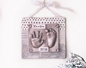 Personalized Nursery Art with Hand Print and Foot Print - Gift Idea for Mom and Dad - Baby Print Art - Nursery Decor Wall Hanging