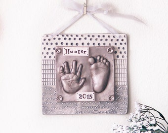 Personalized Nursery Art with Hand Print and Foot Print - Gift Idea for Mom and Dad - Baby Print Art - Nursery Decor - Baby Keepsake Gift