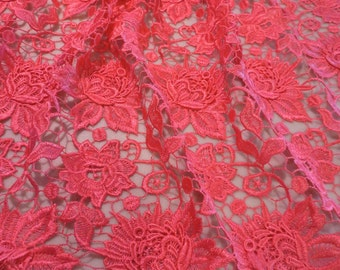 Elegant Shocking Melon Pink Floral Applique Rayon Guipure Lace Fabric--By the Yard
