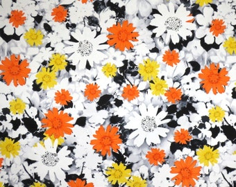 Gray with Orange and Yellow Allover Floral Print Stretch Cotton Sateen Fabric--By the Yard