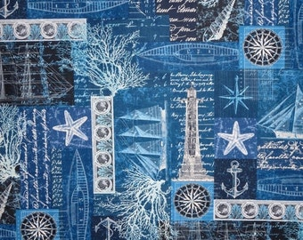 ON SALE Navy Blue Nautical Collage Print Pure Cotton Fabric--One Yard