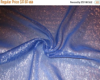 ON SALE Royal Blue with Silver Metallic Silk Chiffon Fabric--Yard