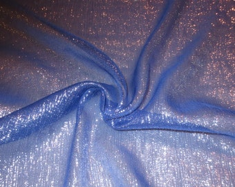 Royal Blue with Silver Metallic Silk Chiffon Fabric--Yard